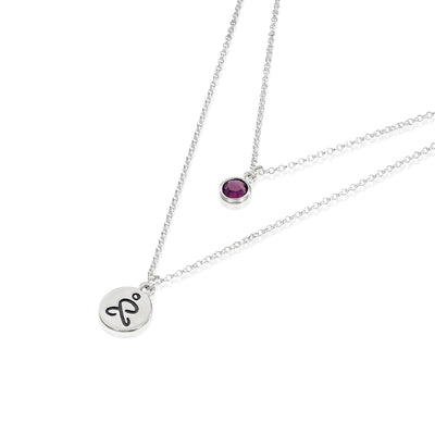 JUST BE - Double Chain Sterling Silver Necklace with Swarovski® Crystal