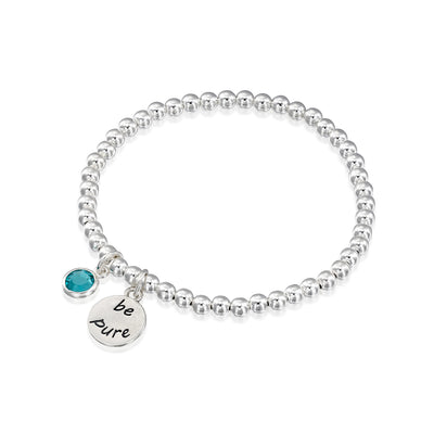 BE PURE  - Sterling Silver Beads Bracelet with Swarovski® Crystal