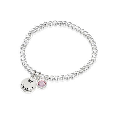 BE CREATIVE -Sterling Silver Beads Bracelet with Swarovski® Crystal