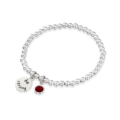BE STRONG - Sterling Silver Beads Bracelet with Swarovski® Crystal