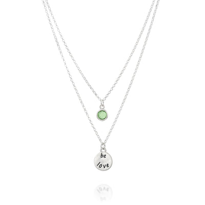 BE LOVE - Double Chain Sterling Silver Necklace with Swarovski® Crystal