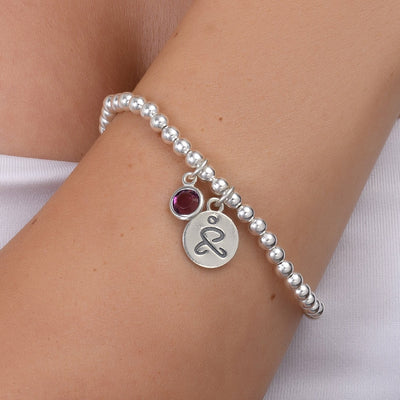 JUST BE - Sterling Silver Beads Bracelet with Swarovski® Crystal