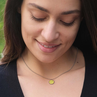 Necklace - BE BRAVE - Necklace With Yellow Pendant