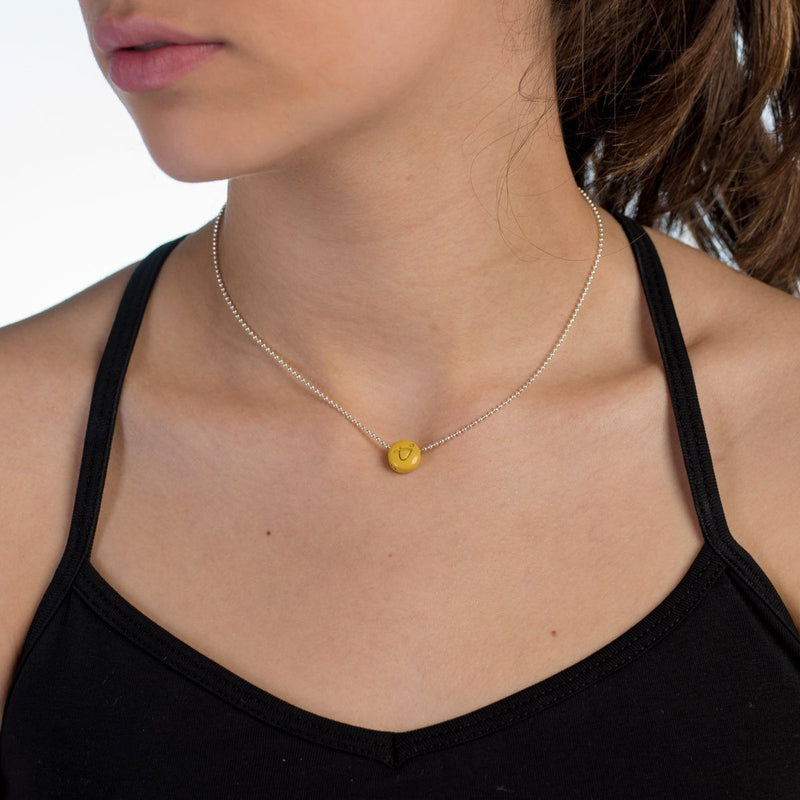 Necklace - BE BRAVE - Sterling Silver Ball Chain Necklace With Yellow Pendant