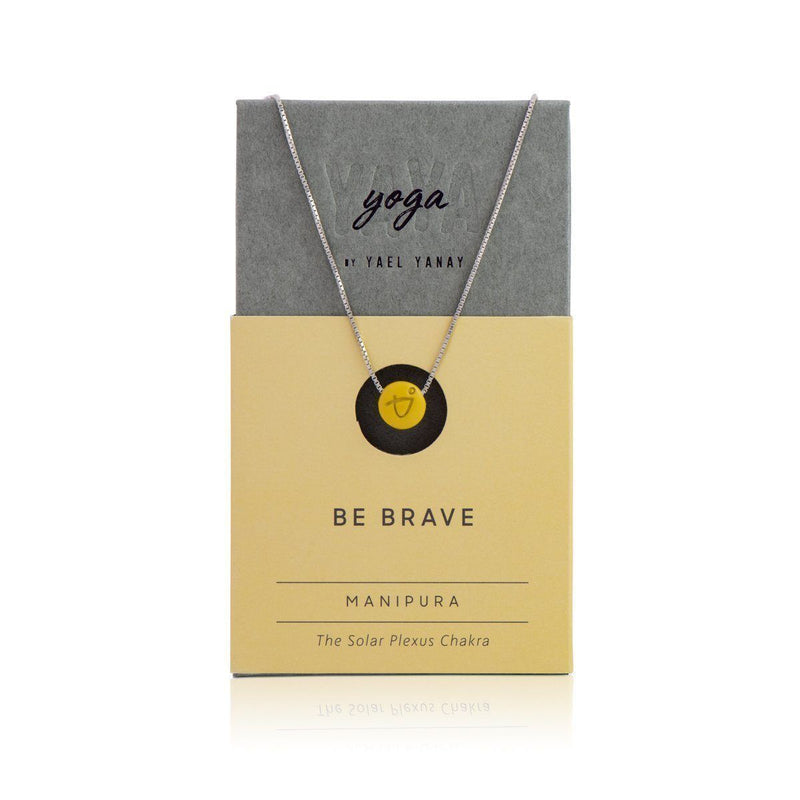 BE BRAVE - Sterling Silver Box Chain Necklace - Yellow Pendant