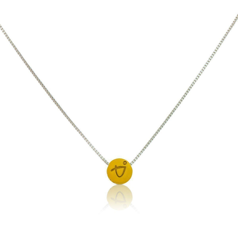 Necklace - BE BRAVE - Sterling Silver Box Chain Necklace With Yellow Pendant