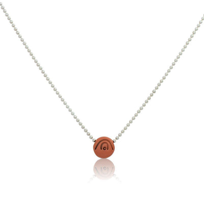Necklace - BE CREATIVE - Sterling Silver Ball Chain Necklace With Orange Pendant