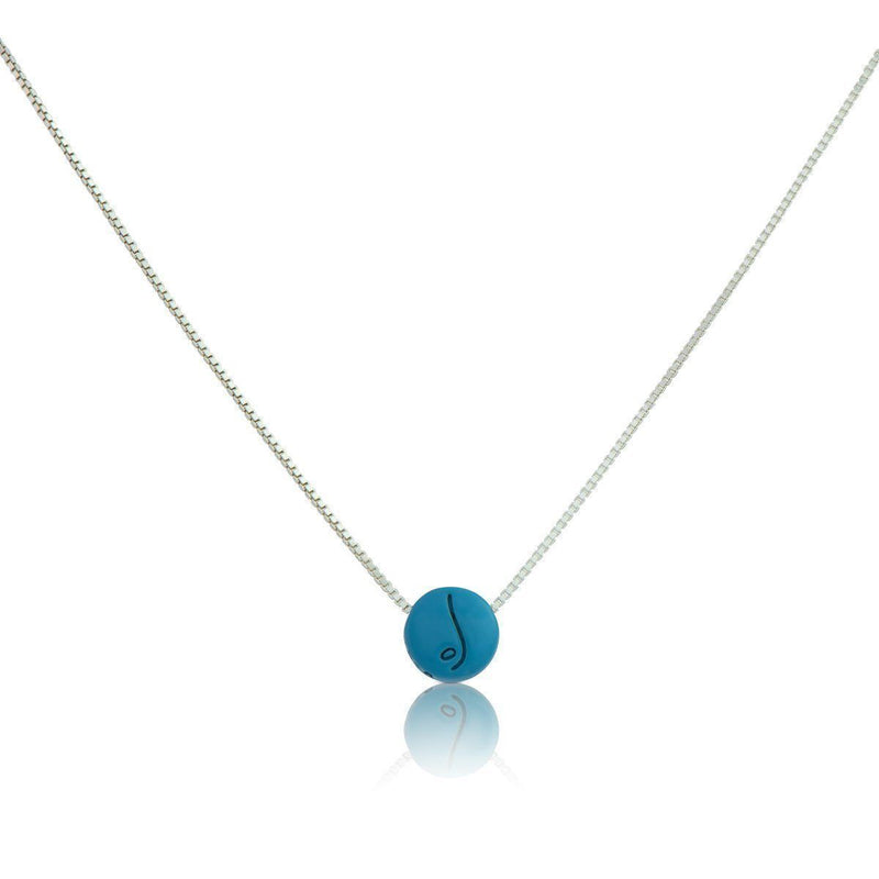 Be Free - Sterling Silver Box Chain Necklace with Blue Pendant