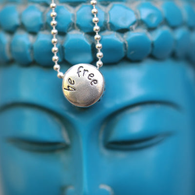 Necklace - BE FREE - Sterling Silver Pendant Ball Chain Necklace