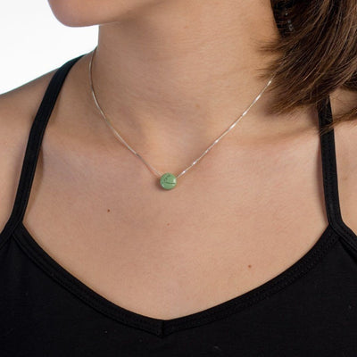 Necklace - BE LOVE - Sterling Silver Box Chain Necklace With Green Pendant