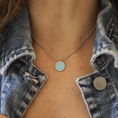 Necklace - BE PURE - Necklace With Light Blue Pendant