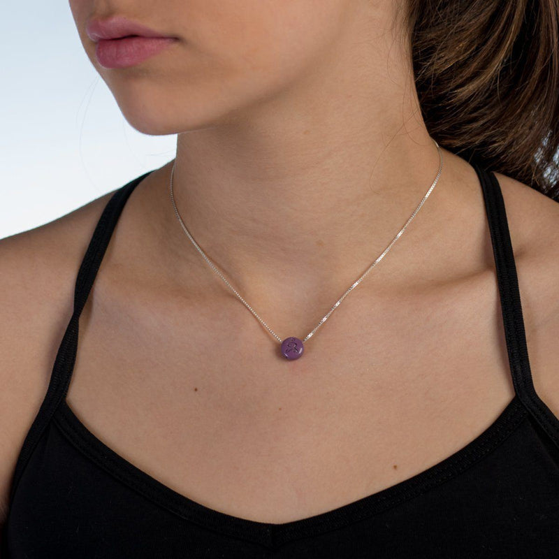 Necklace - JUST BE - Sterling Silver Box Chain Necklace With Purple Pendant