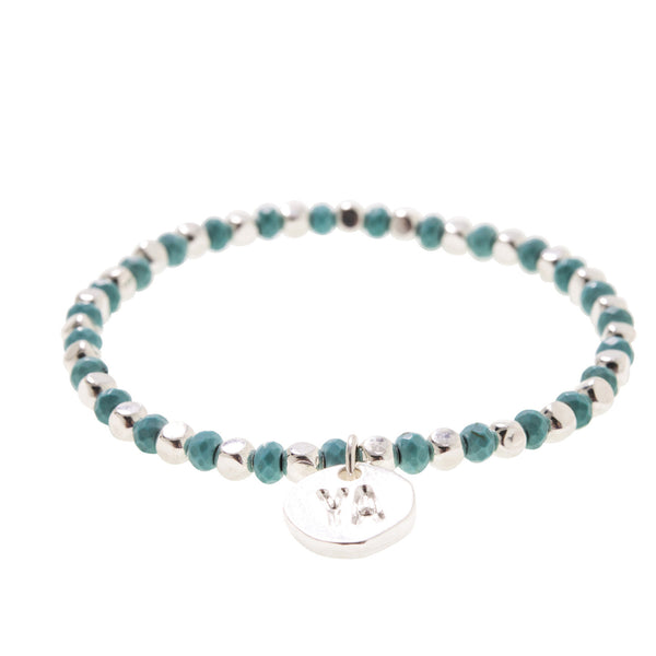 Turquoise & Silver plated Bead Bracelet