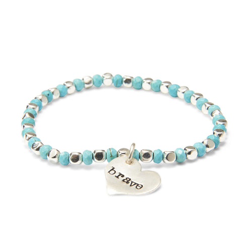 Turquoise & Silver Plated Bead Bracelet with Silver Heart Pendant