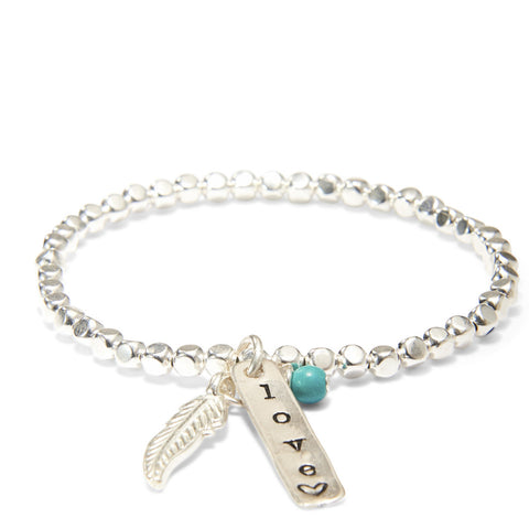 Silver Plated Bead Bracelet with Feather and Personalized Pendant