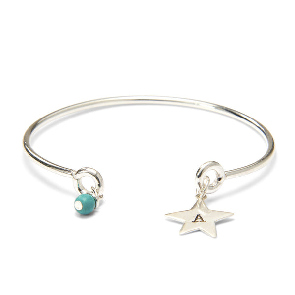 Silver Evening Star & Bead Bracelet