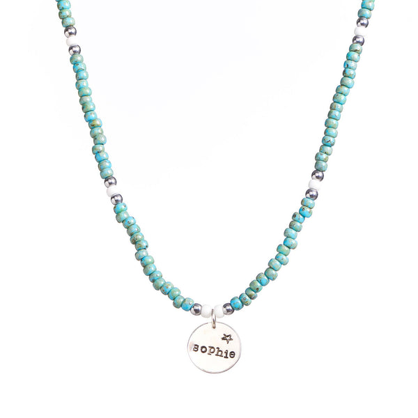 Short Ocean Necklace with Silver Pendant