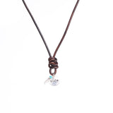 Leather Knotted Circle & Feather Necklace