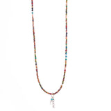 Long Ocean Beaded Feather & Bar Necklace
