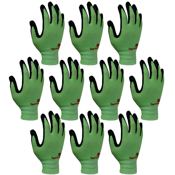 3M Super Grip 200 Gardening Work Gloves 10 PACK [Green]