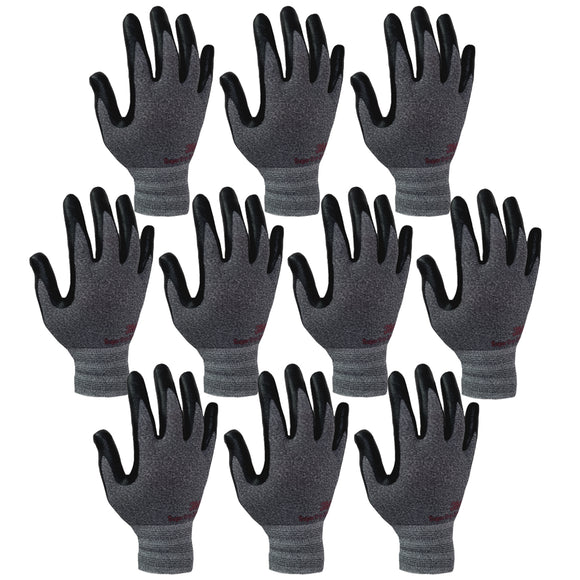 3M Super Grip 200 Gardening Work Gloves 10 PACK [Grey]