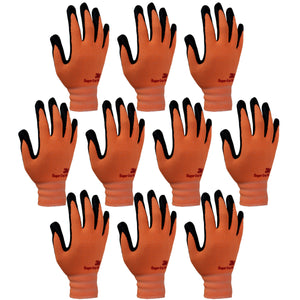 3M Super Grip 200 Gardening Work Gloves 10 PACK [Orange]