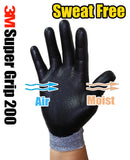 3M Super Grip 200 Gardening Work Gloves 3 PACK [Grey]