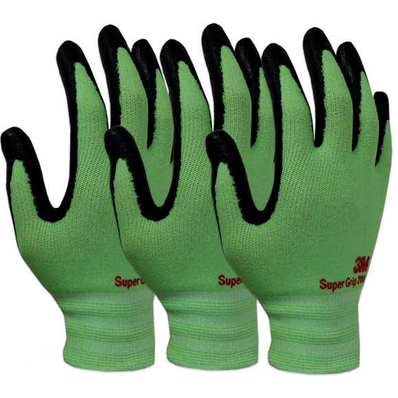 3M Super Grip 200 Gardening Work Gloves 3 PACK [Green]