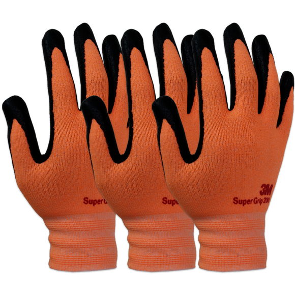 3M Super Grip 200 Gardening Work Gloves 3 PACK [Orange]