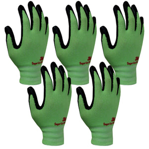 3M Super Grip 200 Gardening Work Gloves 5 PACK [Green]