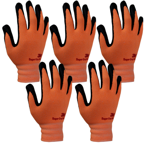 3M Super Grip 200 Gardening Work Gloves 5 PACK [Orange]