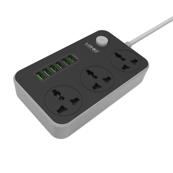 LDNIO Smart 6 USB Port 3 Power Socket