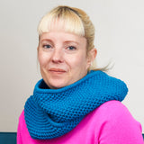 Cortona cowl from Something New to Learn About Helical Knitting by Jen Arnall-Culliford shown in Pool