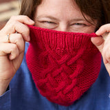 Sangallo Cowl from Something New to Learn About Helical Knitting by Jen Arnall-Culliford shown in Strawberry