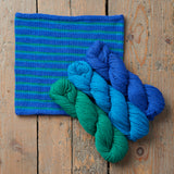 5-Round Stripe Twiss Cowl in Cornflower, Pool and Jade from Something New to Learn About Helical Knitting