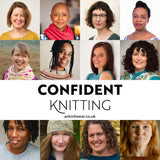 A composite image showing the faces of the 12 designers who are taking part in Confident Knitting.