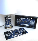 Dallas Cowboys Home decor Collection, includes team lamp, Wall clock, and Wall plaque.