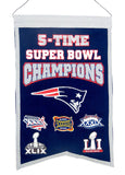 "New England Patriots five-time Super Bowl Champions Banner size 14"" x 21"""