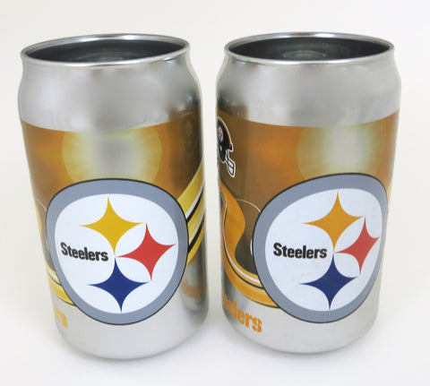 Pittsburgh Steelers thick glass chrome plated tumblers, looks like a real beer cans