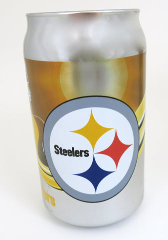Pittsburgh Steelers thick glass chrome plated tumbler.. Looks like a real beer cans