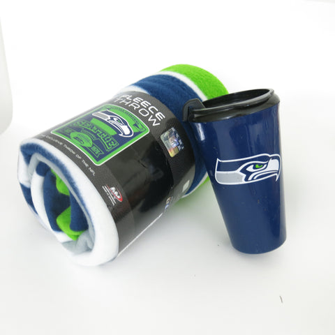 Seattle Seahawks Snug and Sip Throw fleece blanket & Tumbler set