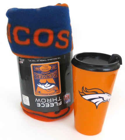 Denver Broncos snug I am  sip set, blanket throw and tumbler