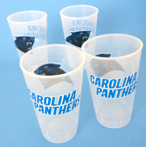 Carolina Panthers beer & drink cups, 16oz unbreakable. set of 4