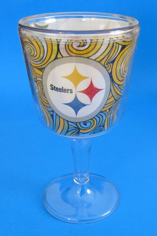 Pittsburgh Steelers set of two wine goblets unbreakable. Great Mother's Day gift