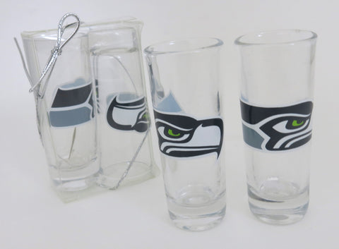 Seattle Seahawks set of two tall shot glasses. An outstanding Father's Day gift.
