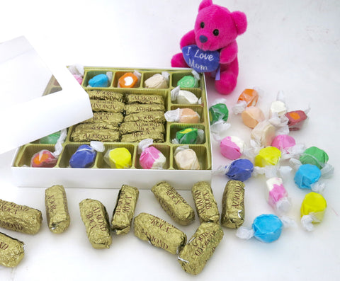 "Mothers day Gift box, includes Taffy and  ""I love Mom"" plush teddy."