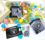 Oakland Raiders deck of cards, team decal, and magnet, Are included in this gourmet taffy sampler assortment if box form