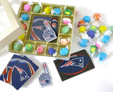 New England Patriots deck of cards, team decal, and magnet, Are included in this gourmet taffy sampler assortment if box form