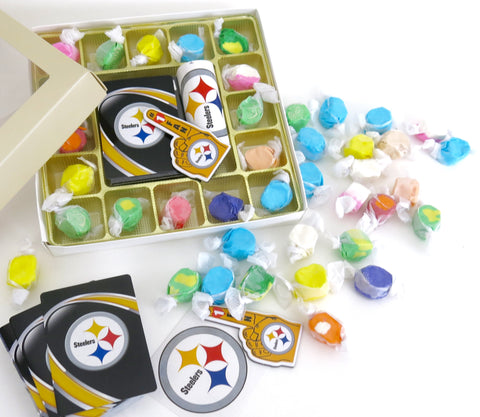 Pittsburgh Steelers deck of cards, team decal, and magnet, Are included in this gourmet taffy sampler assortment if box form