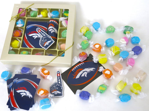 Denver Broncos deck of cards, team decal, and magnet, Are included in this gourmet taffy sampler assortment if box form